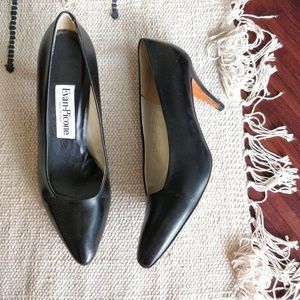Evan Picone Black Leather Pointed Toe Pumps 8.5